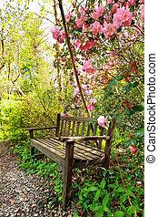 mooi, romantische, houten, bomen, bankje, azalea, tuin
