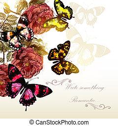 mooi, romantische, rozen, vlinder, vector, ontwerp, achtergrond, evenementen