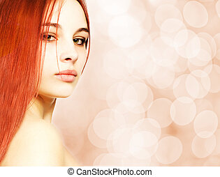 mooi, roodharige, vrouw, op, abstract, benevelde achtergrond
