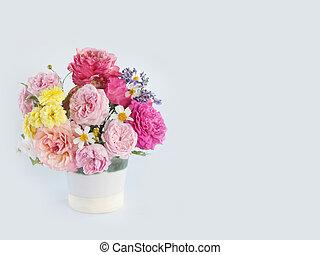 mooi, roos, bloem