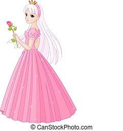 mooi, roos, prinsesje