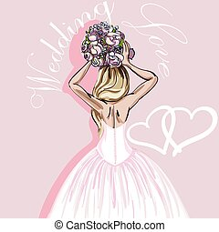 mooi, rooskleurige achtergrond, bouquetten, bruid