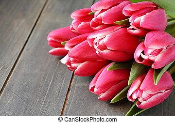 mooi, rooskleurige achtergrond, houten, tulpen
