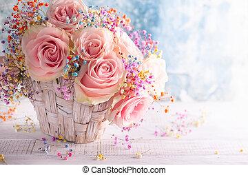 mooi, rooskleurige rozen