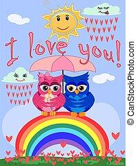 mooi, roze beschouwt, jongen, paraplu, blauwe , regenboog, zittende , spotprent, helder, twee, uilen, rain., seven-colored, onder, meisje, het verbergen