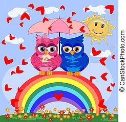 mooi, roze beschouwt, love., liefde, blauwe , regenboog, zittende , spotprent, helder, twee, lucht, uilen, paraplu, jongen, seven-colored, onder, meisje, het verbergen