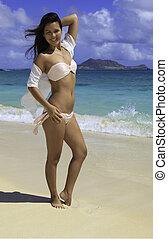 mooi, roze, bikini, meisje, polynesiër