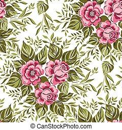 mooi, roze bloem, illustration., achtergrond., behang, seamless, model, rozen, vector, elegantie, floral