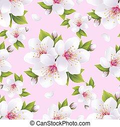 mooi, roze, blossom , model, seamless, sakura