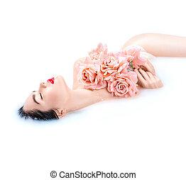 mooi, roze, concept, meisje, bad, boeiend, makeup, rozen, helder, mode, huid, spa, model, melk, care