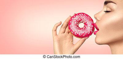 mooi, roze, etende vrouw, beauty, voedingsmiddelen, mode, donut., model, het genieten van, meisje