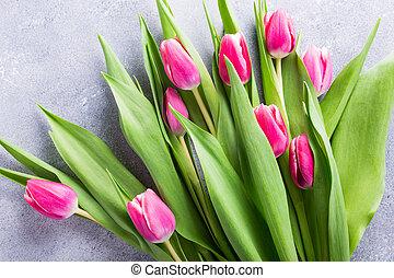 mooi, roze, gele, tulpen