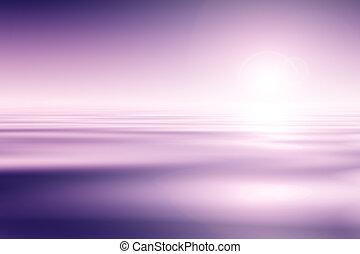 mooi, roze hemel, achtergrond, water