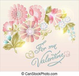 mooi, roze, lente, flowers., floral, kaart