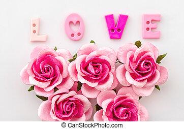mooi, roze, love., roos