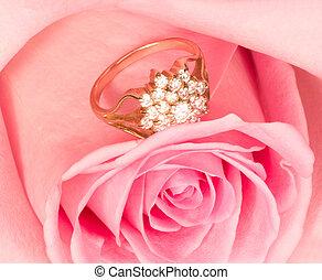 mooi, roze, ring, goud, roos
