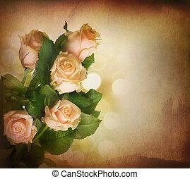 mooi, roze, roses., ouderwetse , styled., sepia toned