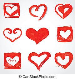 mooi, roze, set, heart., ouderwetse , groet, valentine`s, kaart