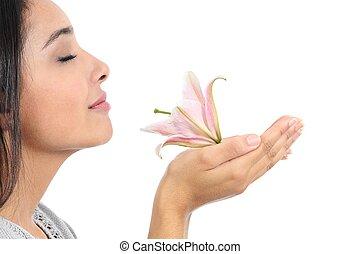 mooi, roze, vrouw, op, bloem, profiel, ruiken, afsluiten