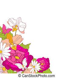 mooi, roze, witte bloemen