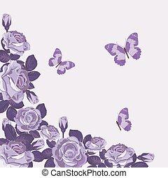 mooi, rozen, butterflies., viooltje, achtergrond., mal, lente, floral, kaart
