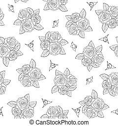 mooi, rozen, pattern., seamless, boeketten