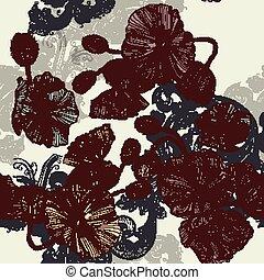 mooi, rozen, vlinder, floral, achtergrond