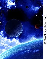 mooi, ruimte, scène, met, planeet