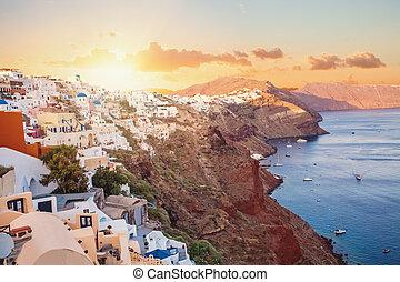 mooi, santorini, caldera, aanzicht, landscape, sunset.