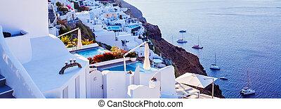 mooi, santorini, landscape, panorama., griekenland