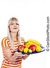 mooi, schaaltje, fruit, vasthouden, fris, meisje