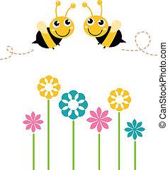 mooi, schattig, kleurrijke, vrijstaand, bijtjes, witte bloemen