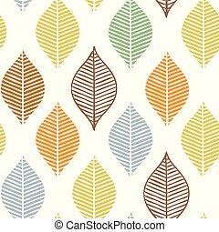 mooi, schattig, weefsel, textile., blad, natuur, pattern., abstract, ornament, seamless, leaves., herfst, elegant, vector, omhulsel, herfst, afdrukken