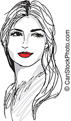 mooi, schets, vrouw, face., illustratie, vector