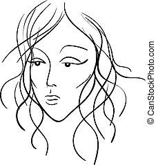 mooi, schets, vrouw, kleur, illustratie, gezicht, vector, black , of