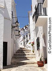 mooi, schilderachtig, een, andalusia, witte , frigiliana-, staden, spanje