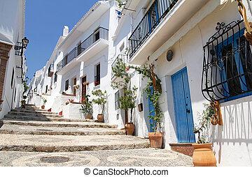 mooi, schilderachtig, een, andalusia, witte , frigiliana-, ...