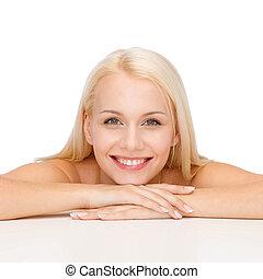 mooi, schouders, vrouw, jonge, gezicht, schoonmaken