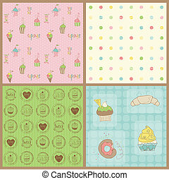 mooi, set, -, achtergronden, vector, cupcakes