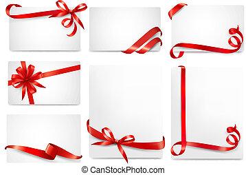 mooi, set, cadeau, buigingen, vector, kaarten, linten, rood