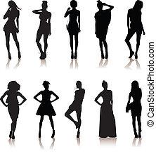 mooi, set, dress.lady, meiden, gevarieerd, model