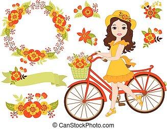 mooi, set, fiets, romantische, herfst, vector, meisje, bloemen