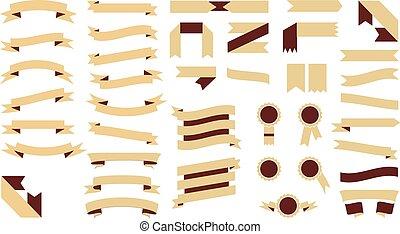 mooi, set, gekleurde, goud, feestelijk, illustratie, vector, ribbons.