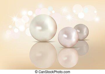 mooi, set, natuurlijke , achtergrond., parels, decoration., vrijstaand, transparant, nacreous, iridescent., ontwerp, glans, hoogtepunten, pearls., glanzend, jouw