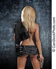 mooi, sexy, meisje, geweer