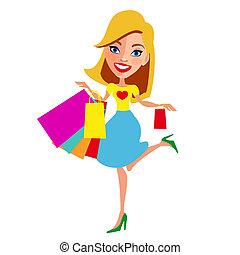 mooi, shoppen , witte , vrouw