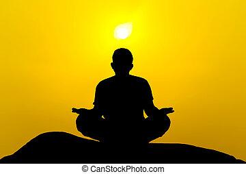 mooi, silhouette, man, yoga, morgen
