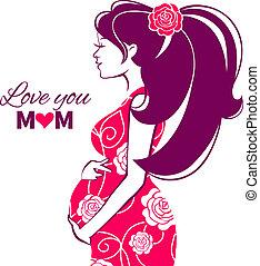 mooi, silhouette, van, zwangere vrouw