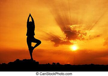 mooi, silhouette, vrouw, yoga, morgen