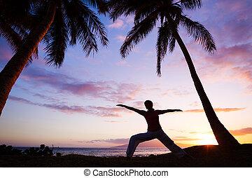 mooi, silhouette, vrouw, yoga